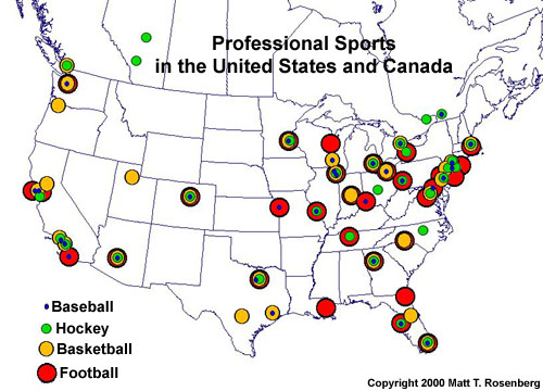 Structure Roles Relationships - Map of us pro sports teams